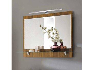 Badezimmerspiegel mit LED Beleuchtung Walnuss