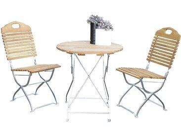 Gartentischgruppe aus Robinie massiv Stahl (3-teilig)