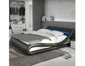 Design Polsterbett in Schwarz und Weiß Kunstleder LED Beleuchtung
