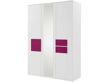 Jugendzimmer Kleiderschrank in Weiß Pink Spiegel