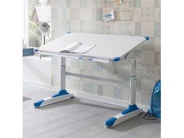Kinderzimmertisch in Weiß und Blau höhenverstellbar