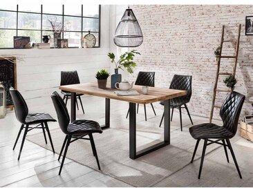 Design Essgruppe aus Eiche Massivholz Schwarz Kunstleder Loft (7-teilig)