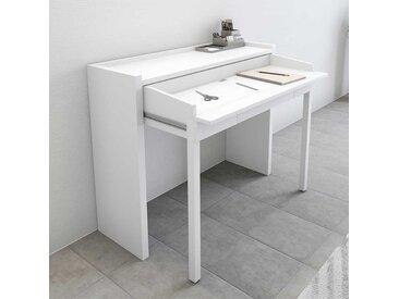 Weißer Schreibtisch mit ausziehbarer Platte Rollen