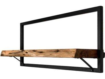 Hängeregal aus Akazie Massivholz Eisen in Schwarz