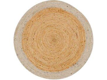 Runder Teppich in Beige und Weiß Landhausstil