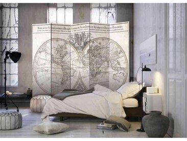 Spanische Trennwand mit antiken Weltkarten Motiv 5 teilig