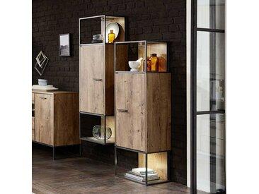 Design Standvitrine im Loft Style Eiche dunkel Optik und Dunkelgrau