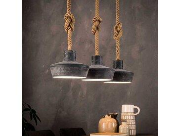 Loft Style Hängeleuchte aus Metall und Juteseil Beton Grau