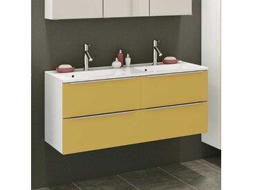 Design Doppelwaschtisch in Gelb und Weiß 120 cm breit
