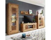 Wohnzimmer Anbauwand aus Wildeiche Massivholz rustikalen Look (vierteilig)