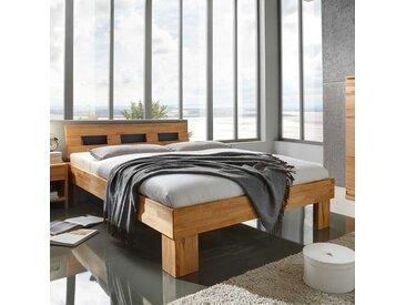 Vollholzbett aus Kernbuche Massivholz 40 cm Einstiegshöhe
