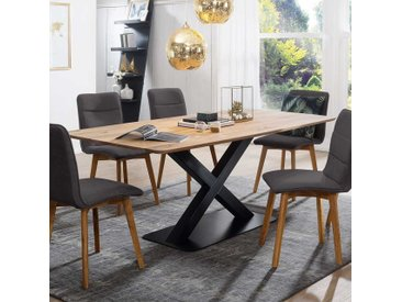 X-Fuß Tisch aus Wildeiche Massivholz Metall in Schwarz