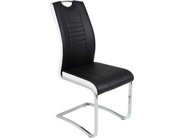 Küchenstuhl Set in Schwarz Weiß Kunstleder (Set)