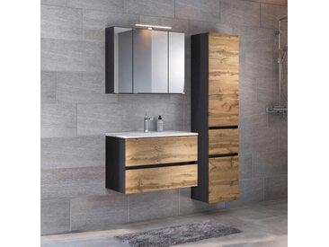 Badezimmerset in Wildeichefarben und Anthrazit LED Spiegelschrank (3-teilig)