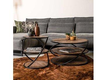 Beistelltisch Set aus Mangobaum Massivholz und Metall Loft Design (2-teilig)