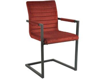 Armlehnen Schwingstuhl in Rot Samtbezug (2er Set)