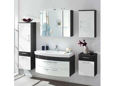 Badezimmer Komplettset in Weiß Hochglanz Anthrazit (5-teilig)
