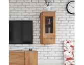 Wohnzimmer Hängevitrine aus Buche Massivholz Glas