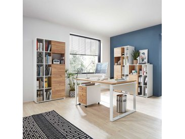 Büromöbel Komplettset in Weiß und Wildeiche Dekor Made in Germany (5-teilig)