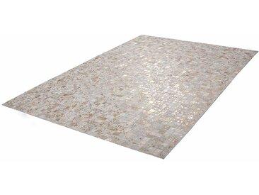 Patchwork Teppich in Creme Weiß und Goldfarben Echtfell