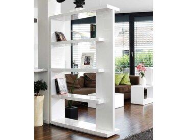 Wohnzimmerregal 180 cm hoch Weiß Hochglanz