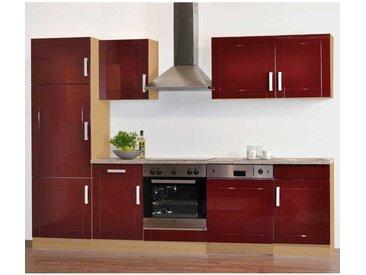 Komplettküche in Rot Hochglanz (9-teilig)