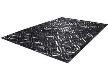 Patchwork Teppich in Schwarz und Silberfarben kurzem Echtfell