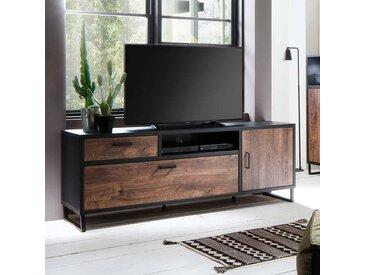 Fernsehschrank in Eiche dunkel und Dunkelgrau 70 cm hoch