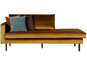 Sofa Recamiere in Honigfarben Samt Armlehne links