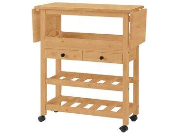 Kiefer Küchenwagen massiv gebeizt und geölt klappbarer Tischplatte