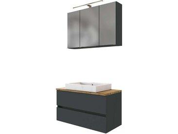 Waschraum Set in Dunkelgrau und Wildeiche Optik LED Beleuchtung (2-teilig)