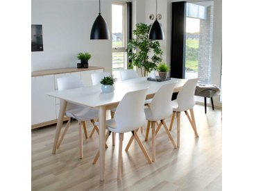 Esszimmer Sitzgruppe in Weiß und Kieferfarben Skandi Design (7-teilig)