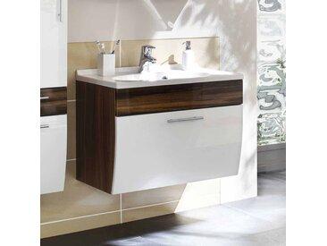 Waschtischunterschrank in Weiß Hochglanz Walnuss