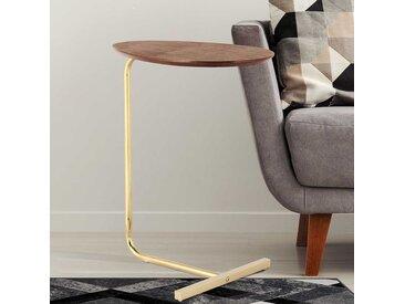 Sofa Beistelltisch in Nussbaumfarben und Goldfarben rund