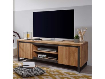 Fernseh Unterschrank aus Wildeiche Massivholz und Metall 150 cm breit