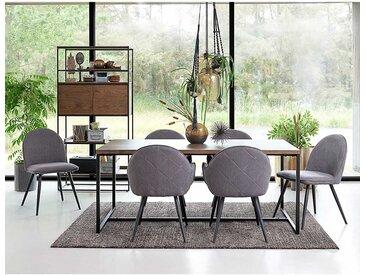 Esszimmer Sitzgruppe in Grau und Wildeiche dunkel furniert modern (7-teilig)