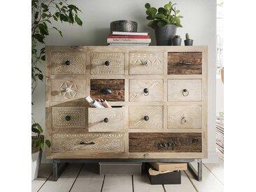 Schubkastenkommode aus Mangobaum Recyclingholz Shabby Chic Stil