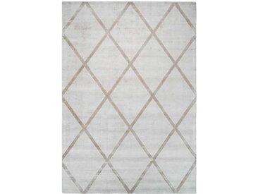 Kurzflorteppich in Creme Weiß Taupe geometrischen Mustern