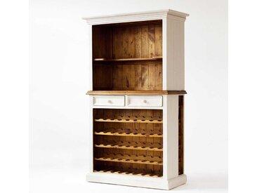 Weinschrank in Weiß-Honigfarben Landhausstil