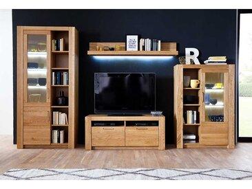Wohnwand aus Wildeiche Massivholz modern (4-teilig)
