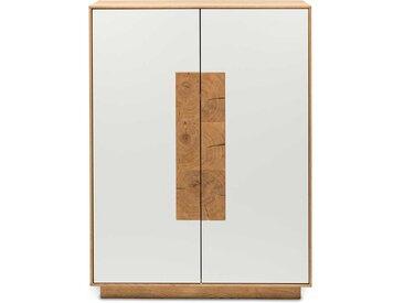 Wohnzimmer Highboard in Weiß mit Eiche Massivholz handgearbeitet