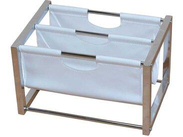 Zeitschriftenständer in Weiß Kunstleder Stahl