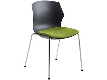 Design Stapelstuhl in Anthrazit und Grün Kunststoff