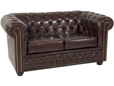 2 Sitzer Sofa in Braun Chesterfield Art