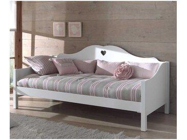 Mädchenbett in Weiß Herzchen Design