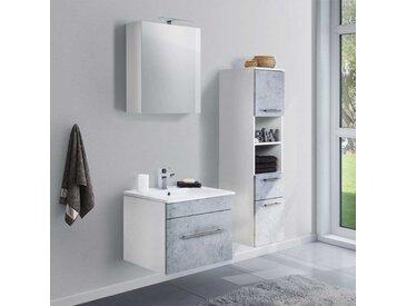 Design Badezimmer Set in Beton Grau und Weiß LED Beleuchtung (3-teilig)