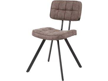 Design Stühle in Braun Schwarz Kunstleder und Stahl (4er Set)