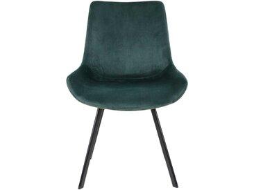 Esstisch Stühle in Dunkelgrün Samt Metallgestell in Schwarz (2er Set)