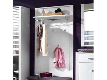 Garderobenpaneel in Weiß Hochglanz mit Hutablage