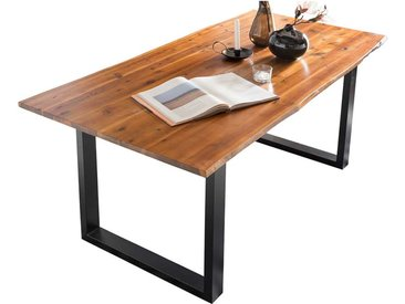 Baumkanten Tisch in Cognac Braun und Schwarz Akazie Massivholz und Stahl